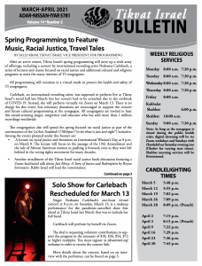 Bulletin March - April 2021 front image